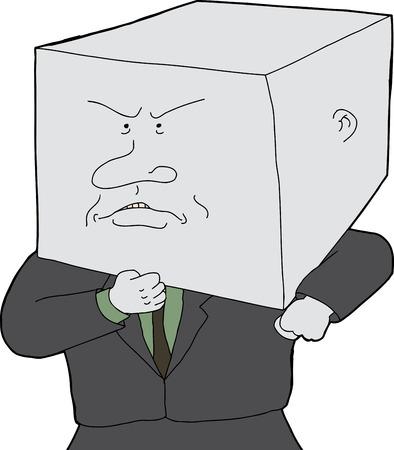 blockhead: Stubborn business person with block head cartoon Illustration
