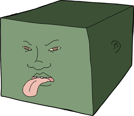 Unhappy face in cube sticking out tongue