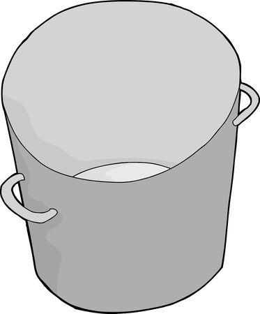 One empty steel bucket on isolated background