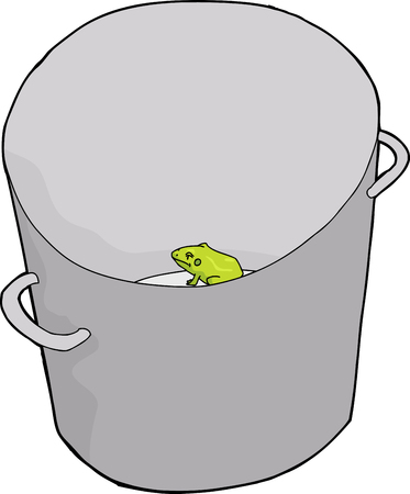Sad frog trapped in tall metal bucket