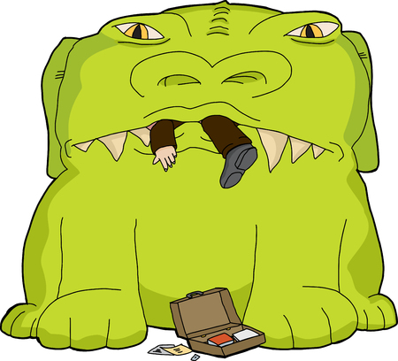 devouring: Monster devouring business man with briefcase on isolated background