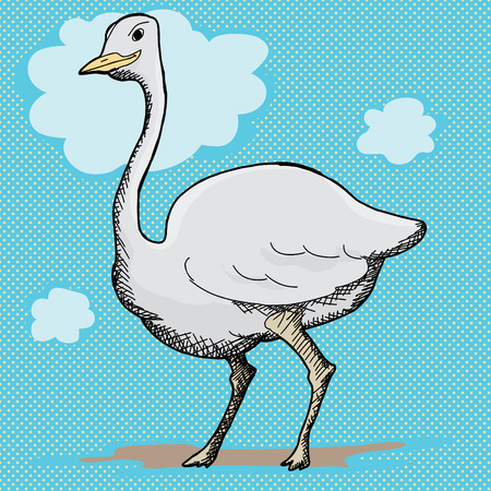 Single cute ostrich standing over halftone background