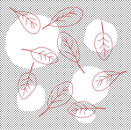 추상 빨간색의 그룹 하프 톤 패턴 위에 나뭇잎 일러스트