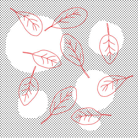spinach salad: Group of abstract red leaves over halftone pattern