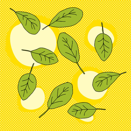 spinach salad: Group of green leaves over halftone yellow sun