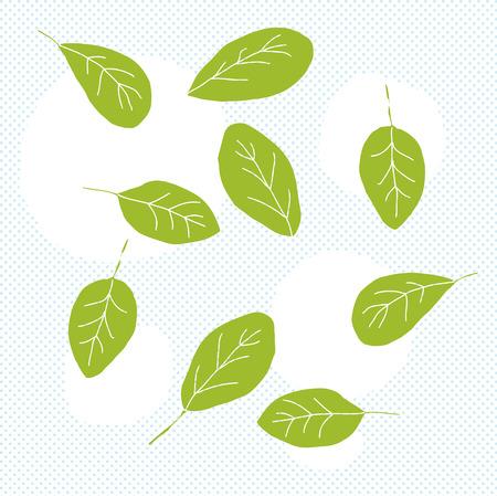 녹색 아기 시금치의 낙서 하프 톤 배경 위에 나뭇잎