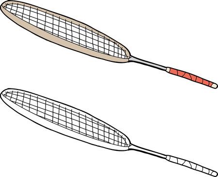 Single isolated badminton racket on isolated white background