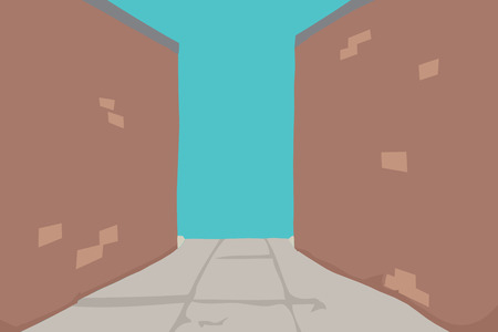 Abstract alley with sidewalk and brick walls