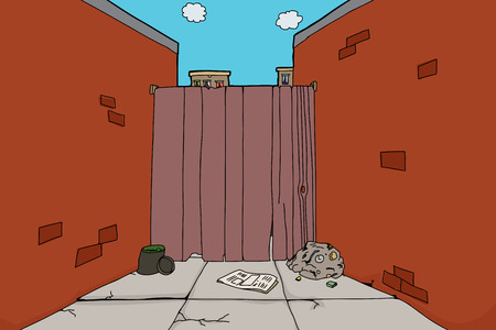 Alley with dead end and garbage on ground Vector