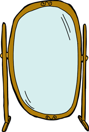 Empty tall dressing mirror on isolated background
