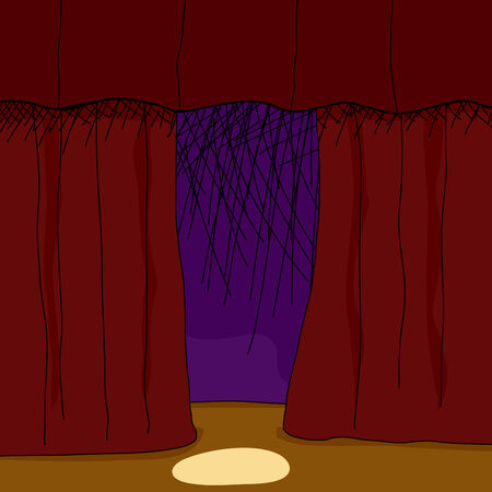 Hand drawn theater stage background with spotlight