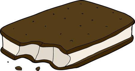 processed food: Ice cream sandwich with bite mark and crumbs Illustration