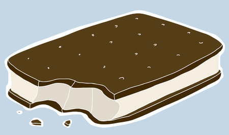 Ice cream sandwich with missing bite over blue Vector