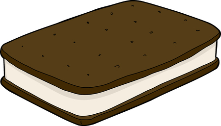 Isolated ice cream sandwich over isolated background