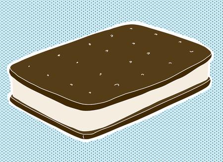 Single ice cream sandwich over blue halftone Illustration