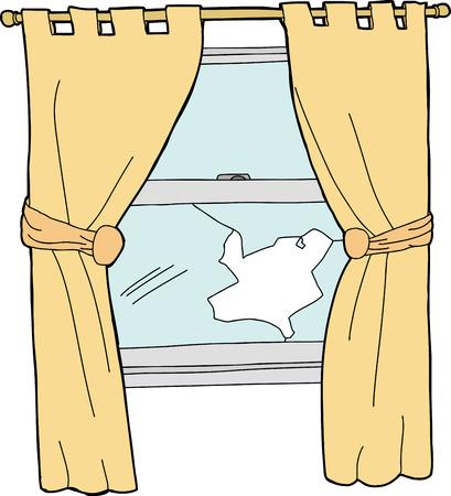 Gebroken glas venster met gele gordijnen cartoon Stockfoto - 28875162
