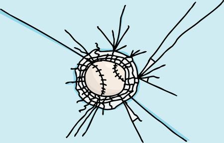 Hand drawn baseball stuck in shattered glass cartoon Ilustrace