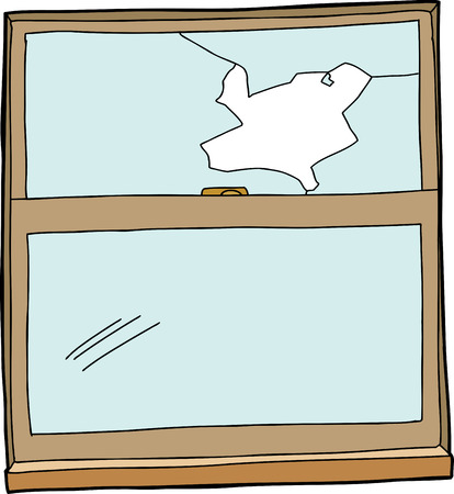 broken window: Wooden window frame with broken glass pane Illustration
