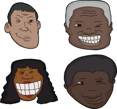 cocky: Group of isolated Hispanic and African winking faces