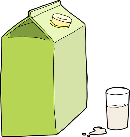 unprinted: Generic milk carton with glass and spill on white