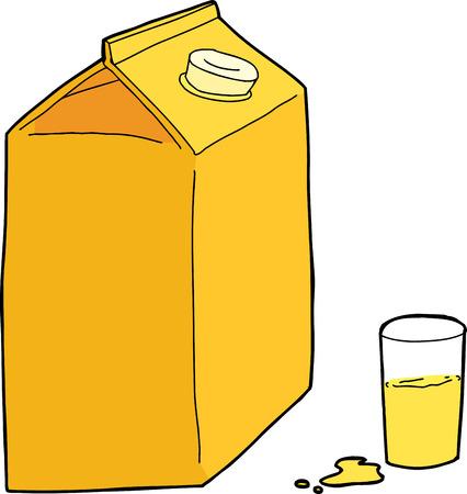 unprinted: Cart�n de jugo de naranja con el vidrio y el derrame en el fondo blanco Vectores