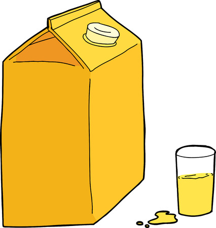 unprinted: Orange juice carton with glass and spill on white background Illustration