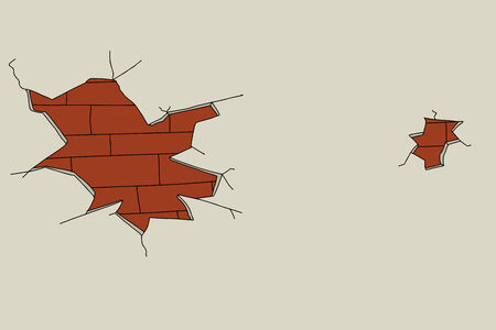Broken plaster over brick wall background illustration
