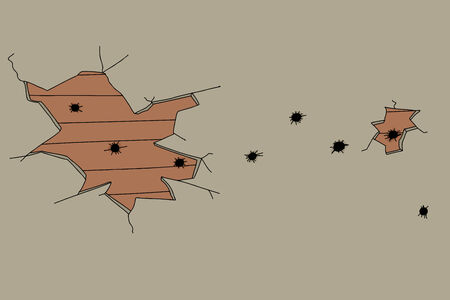 bullet hole: Plaster and wood wall with multiple bullet holes Illustration