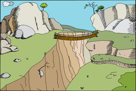 Hand drawn cartoon footbridge across canyon in wilderness Illustration