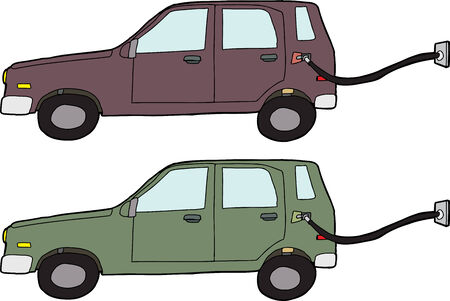 Hand drawn electric car with cord and outlet Vector