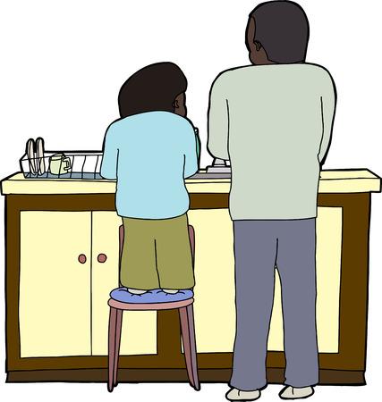 lavare piatti: Bambino sulla sedia aiutare il padre a lavare i piatti