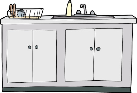 kitchen sink clipart black and white. kitchen sink: isolated hand drawn sink with drying rack clipart black and white c
