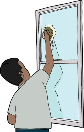 window view: Rear view of Indian man cleaning window
