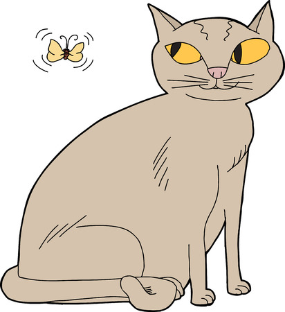 Grinning kitten watching moth over isolated background Vector