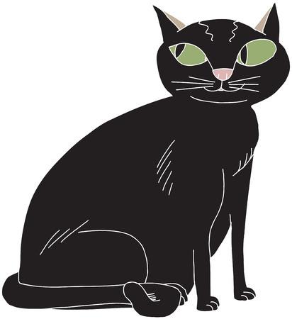 Cartoon van leuke zwarte kat met groene ogen