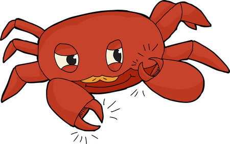 Cute red crab clicking claws on white background