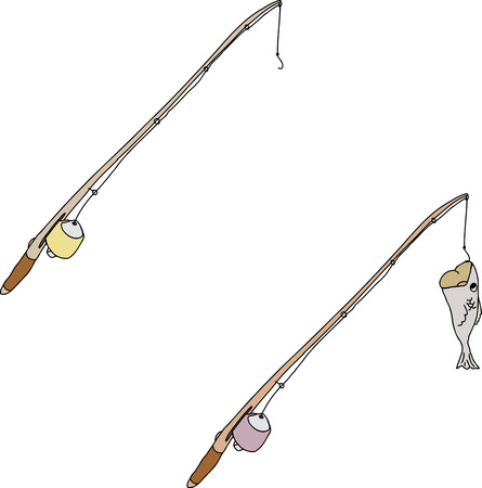 fishing pole: Cartoon fishing pole with hook and fish