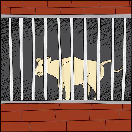 animal abuse: Cartoon of sad lion behind bars in zoo