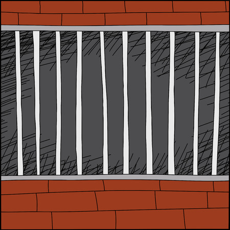 confined: Empty cartoon cage with brick walls and dark background