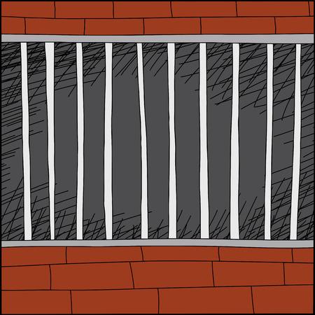 Empty cartoon cage with brick walls and dark background