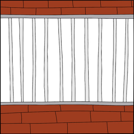 confined: Hand drawn blank cage cartoon with white background