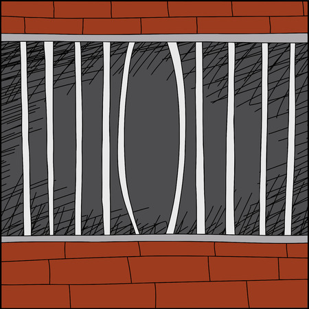 confined: Cartoon zoo cage with bent iron bars