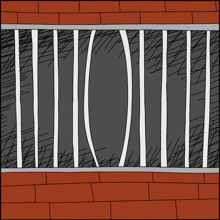 Cartoon zoo cage with bent iron bars