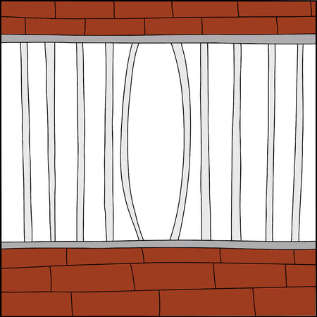 Bent bars of hand drawn cage with white background