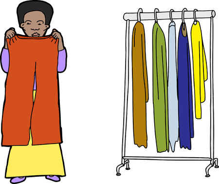 choosing clothes: Female shopper comparing clothes on isolated background