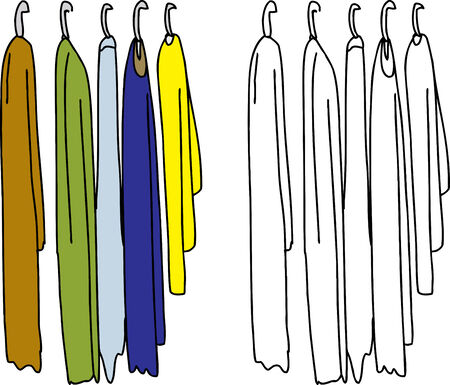 hangers: Hand drawn clothes on hangers over white background