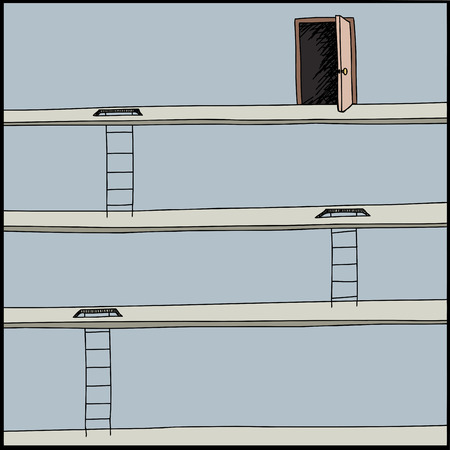 Doodle of ladders leading up to exit door Vector
