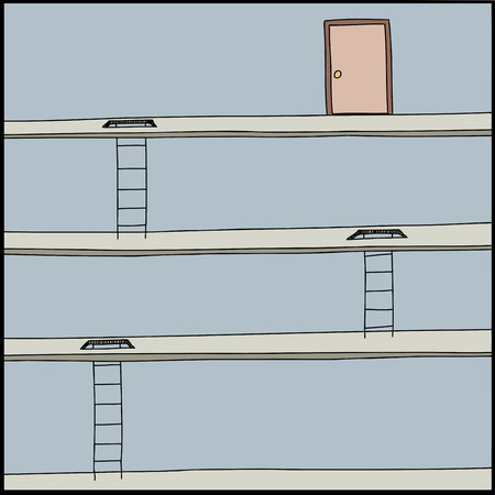 difficult situation: Cartoon of ladders through floors and door at top