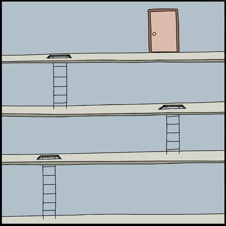 Cartoon of ladders through floors and door at top