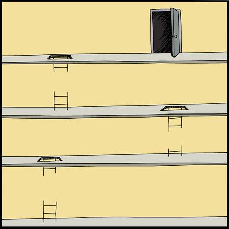 Broken ladders on levels with open door Ilustração